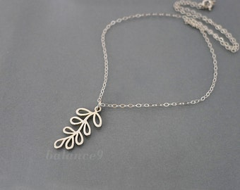 Silver leaf necklace, sterling necklace gift, dainty charm necklace, leafy branch pendant, delicate everyday jewelry, by balance9
