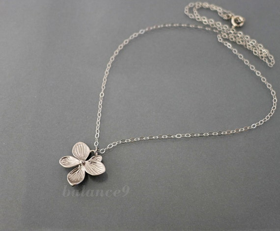 Silver flower necklace, Azalea pendant necklace, Sterling chain, delicate bridesmaids wedding jewelry, everyday, christmas gift, by balance9