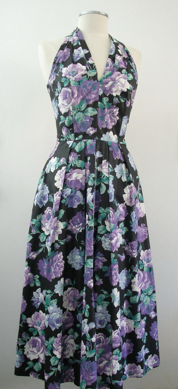 SALE Vintage Purple Roses Maxi Halter Dress - Black & Purple Floral Print - Full Skirt, Small 5 / 6