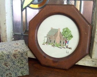 Vintage Framed Cross Stitch Cabin / Unique Octagonal Wood Frame / Rustic Farmhouse/Cabin Decor / Vintage Cross Stitch