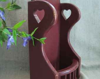 Rustic Colonial Red Wall Pocket /Planter / Vintage Handmade Wall Pocket