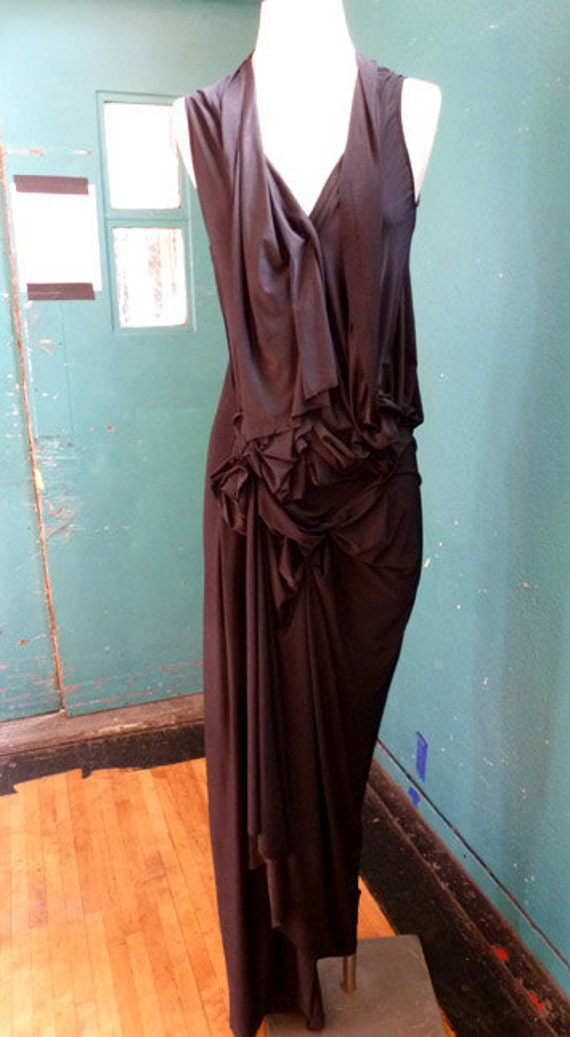 Black Deep V neck jersey Gown with manipulation of fabric, lots of frontal draping,elegant,wedding dress, designed by Cheryl Johnston