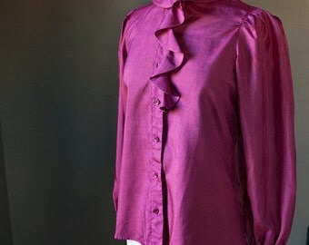 SALE, SALE... Clothilde... vintage long sleeve ruffle blouse in a lovely fuchsia