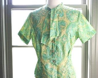 SALE, SALE... A la recherche... vintage circa 1950s short sleeve blouse (s - m)
