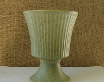 MCCOY MID CENTURY Floraline by McCoy Round Ribbed Green Jardiniere Planter or Vase Floraline By McCoy Ohio Pottery Ceramic Company Modern