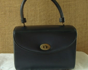 MID CENTURY 50s Classic Navy Blue Box Handbag Purse By Gary