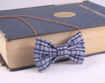Blue Plaids - Bow Tie Necklace, Casual Bowtie Necklace for Women, Navy Plaid PreTied BowTie for Women and Girls