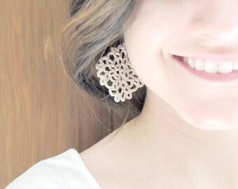 Chain Mesh Diamond Square, Bohemian Hand-crocheted Geometric Earrings, Dainty Handmade Cotton Diamond shaped Earrings Sterling Silver 925
