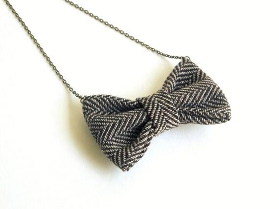 Brown Beige Herringbone - Bow Tie Necklace, Funky Casual Bowtie