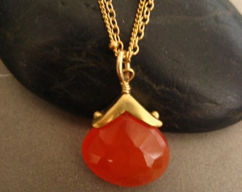 Faceted Genuine carnelian briolette necklace with vermeil accent and gold filled double chain