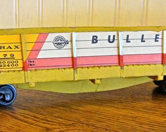 Yellow Gondola Wooden Train Cardboard Model Lithographed Bulletin 1979