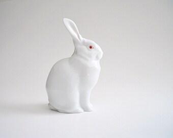 Herend Rabbit Figurine White Porcelain Bunny Figurine Hungary