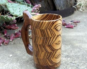 Handcrafted Wood Mug Zebra 12 oz Tankard, Wood Beer Mug, Beer Stein, Drinking Vessel, Stein, Wood Beer Tankard, Wood Beer Stein