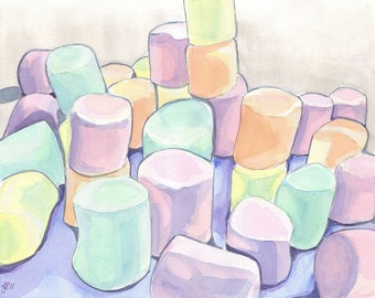 Watercolor Painting - Marshmallows Art - Watercolor Art Print, 11x14 Wall Art, Candy Series no. 6