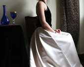 Champagne White maxi Skirt -  Dusty Rose off White Heavy formal Skirt with Draped back, Princess skirt