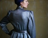 Bowie in Space - Silver ultimate 80ies Peplum Grey Shimmering ruffled Blouse