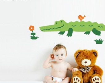 LS Original Design Alligator wall decal Alligator decal Children Wall Decals Crocodile decal Bird decal Flowers Nature Kids Nursery