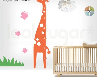 Growth Chart Wall Stickers - Baby Nursery Wall Decals - Metric / English Scale - 0007