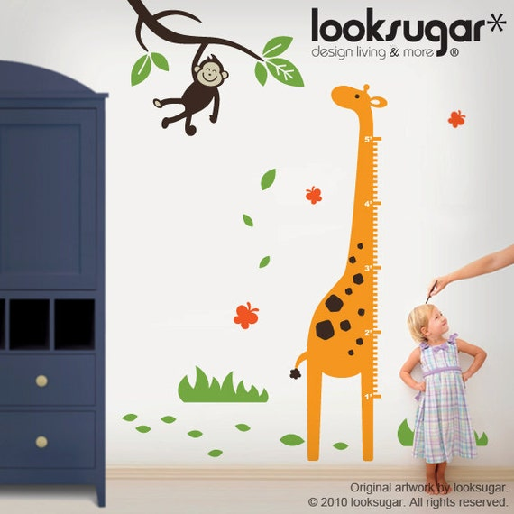 Giraffe Growth Chart Children Wall Decal with Monkey and Tree - Metric OR English System - 0066