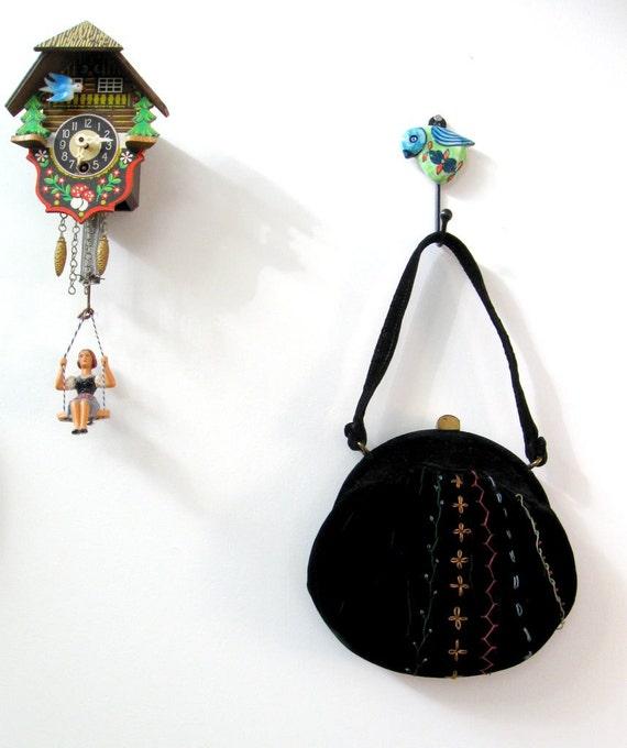 1950s purse / 50s vintage Black Velvet embroidered Morris Moskowitz bag