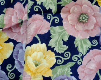 Pink Yellow Floral Print, Quilting Cotton Fabric, Marcus Bros, Purple Blue, Flowers, half yard, B14