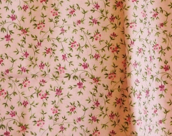 Magenta Pink Floral Print, Quilting Cotton Fabric, Flowers, Vines Leaves, half yard, B7