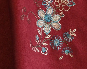 Antique Ruby Red, Embroidered Suedecloth, Wide Upholstery Fabric, Blue White Flowers, Heavy Weight Polyester, half yard, B3