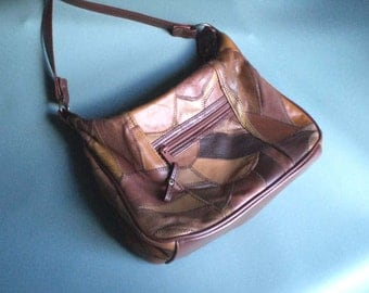 Vintage Purse Brown Leather Patches