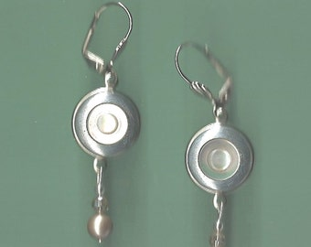 1800s Mother of Pearl Button Earrings
