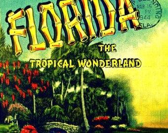 Mid Century Florida Art, Mid Century Modern Art, Tiki Bar Decor, Tiki Art Gifts for Her, Florida Wall Art, Retro Florida Art, Florida Gifts