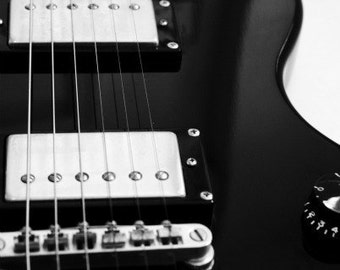 My Electric Guitar 8x12 Photography Print, Music Decor, Musical Instrument, Black and White Art, Metallic Paper