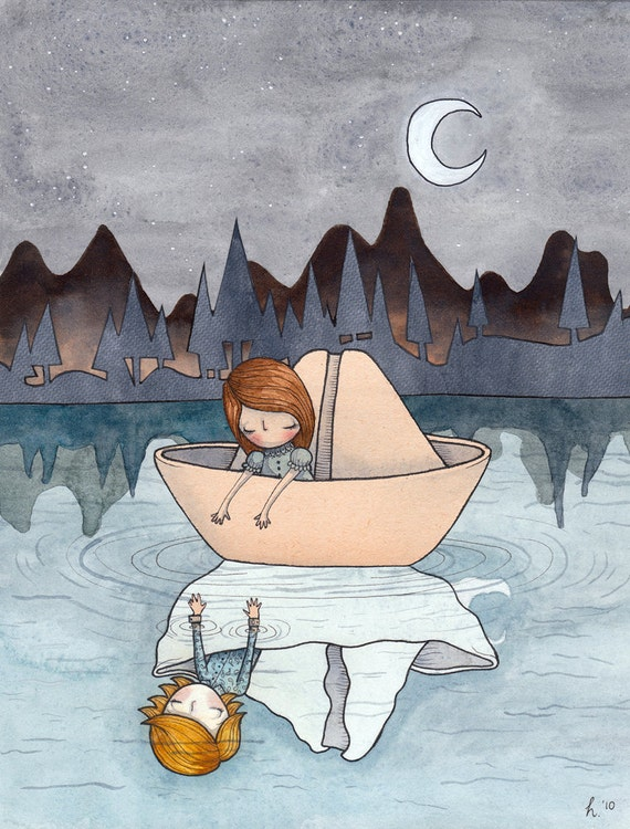 Come With Me - A5 print - paper boat romance girl boy sweet whimsy whimsical melancholy night stars moon moonlight reflection water lake