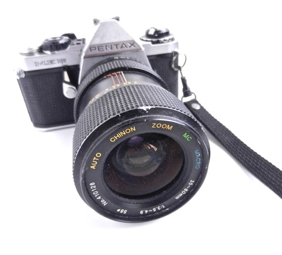 Vintage Pentax ME Super Camera & Macro Lens - Chinon Zoom Lens for Repair or Decor / Close Up Photography