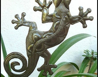 "Gecko Metal Plant Stake - Metal Gecko Art, 14"" Metal Garden Plant Marker, Recycled Steel Drum Garden Art from Haiti, Tropical Decor  PS-1775"
