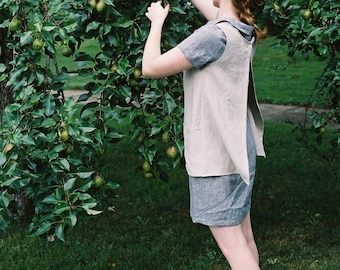 Work Garden Smock Apron / 100% Linen / Made to Order