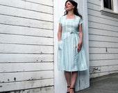 wrap dress Handmade by Brightest Star Nautical Sea Foam Blue Green Stripes Wrap around dress S/M French ticking Cotton