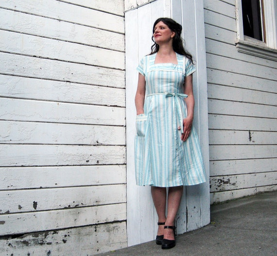 wrap dress Handmade by Brightest Star Nautical Sea Foam Blue Green Stripes Wrap around dress S/M French ticking Cotton