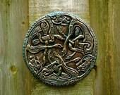 Celtic Dogs Holiday Gift Celtic Knot Stone Art Sculpture (donation to Greyhound Welfare), Irish Garden Art, Celtic Wall Art
