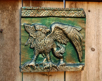 Griffin Sculpture Wall Art Plaque, Gift for Him, Cast Stone Art Antique Home Decor, Carved Griffon Gryphon Antiquity