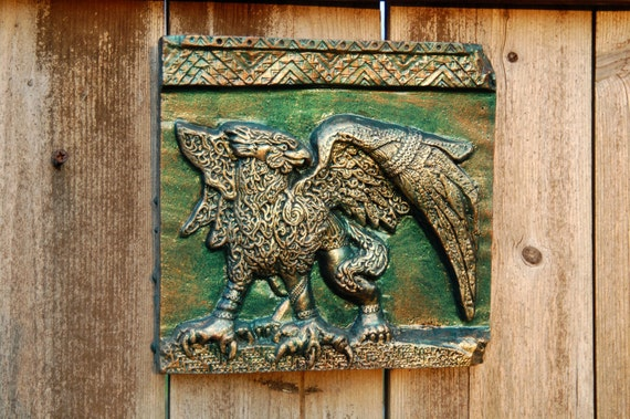 Griffin Sculpture Wall Art Plaque, Fathers Day Gift for Him, Cast Stone Art Antique Home Decor, Griffon Gryphon Antiquity