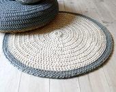 Rug floor crochet - ecru and gray