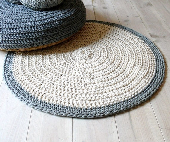 Rug floor crochet - ecru and gray