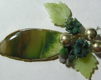 Royal Green and Burgundy Imperial Jasper Wire Wrapped Cabochon (8005)