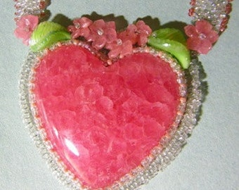 Beaded Rhodochrosite Gem Quality Chrystal Heart Pendant (706-K) Free Shipping