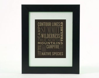 "Camping Backpacking Typographic Poster - 8"" X 10"" Print"