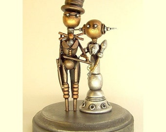 Robot Wedding Cake Topper Elegant Space Princess Bride Groom Top Hat Tails Wood Steampunk Sculpture