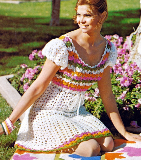 Vintage Crochet Pattern 1970s Lacy Mini Peasant Dress Digital Download PDF