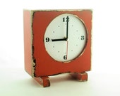 FREE SHIPPING - CLOCK Square Orange, Wooden Clock, Table Clock, Orange clock,Desk Wood clock, Unique gift,