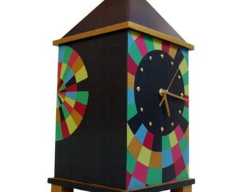 Desk clock handpained, Big clock, Decorative clock, Table clock, Unique gift - Huge 17 Inch height