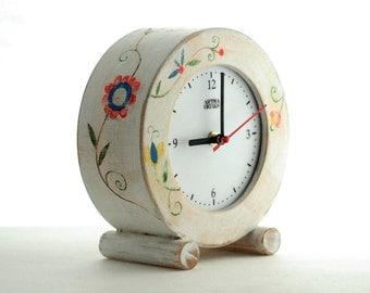 FREE SHIPPING, Desk clock circle, Clock Folk Art, Gift Ideas, Table Wood Clock, Flowers ornament, Back to school
